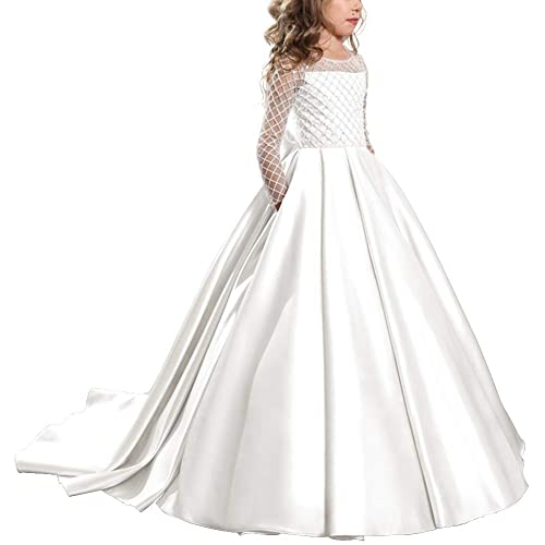 897701132f0a OBEEII Flower Girls Butterfly Princess Dresses Floral Lace Applique  Embroidered Ball Gown for Pageant Communion Ceremony