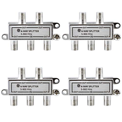 GE 4-Way Coaxial Cable Splitter, 4 Pack, 5-900 MHZ Range, RG59 RG6 Coax Compatible, Audio, Video, Works with HD TV, Cable, Amplifiers, Amplified Antennas, Nickel, Corrosion Resistant, 60809