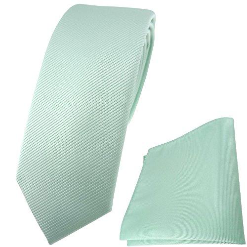 TigerTie schmale Designer Krawatte Einstecktuch in mint grün einfarbig Uni Rips