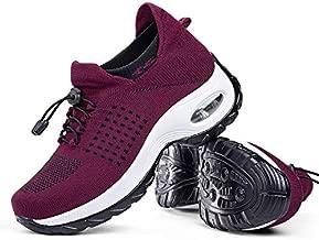 Women's Walking Shoes Sock Sneakers - Mesh Easy Lace Air Cushion Lady Girls Modern Jazz Dance Platform Nursing Shoes Wine Red,10