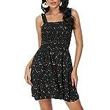 Pasidvy Women Summer Tie Shoulder Dress Smocked Ruffle Tube Top A Line Beach Mini Dress 05 (S, 6605 Black Floral)