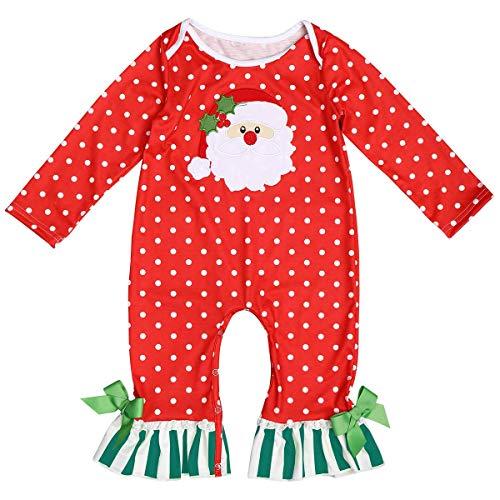 IBAKOM Traje de Navidad para niños, mameluco de Papá Noel con estampado de alce de manga larga para Navidad, ropa de fiesta