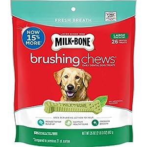 Milk-Bone Fresh Breath Brushing Chews, 26 Large Daily Dental Dog Treats