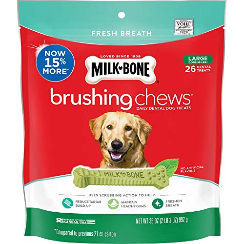 MilkBone Fresh Breath Brushing Chews 26 Large Daily Dental Dog Treats