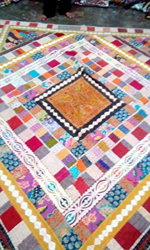 Marusthali Patchwork Single Tagesdecke Vintage Indian Bedsheet Schwere Stickerei ethnischen Bettdecke Patchwork Tagesdecke Blätter Größe 60 von 90 Zoll