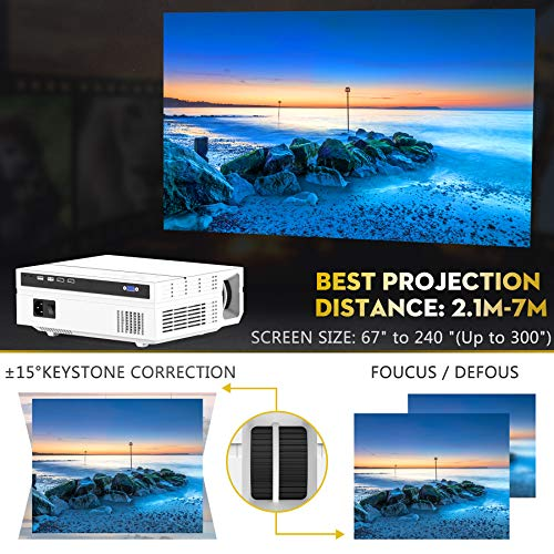 Native 1080P Projector with Case , TOPVISION 7200LUX Full HD Video Projector for Outdoor Movies Compatible with TV Stick,HDMI,VGA,USB, Smartphone,PC,Xbox