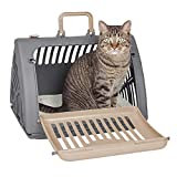 SportPet Designs Foldable Travel Cat Carrier with A Bed - Front Door Plastic...