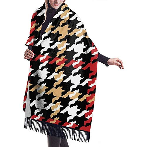 Cathycathy Grote sjaal Grunge Houndstooth Pied De Poule sjaal wrap winter warm scarf cape
