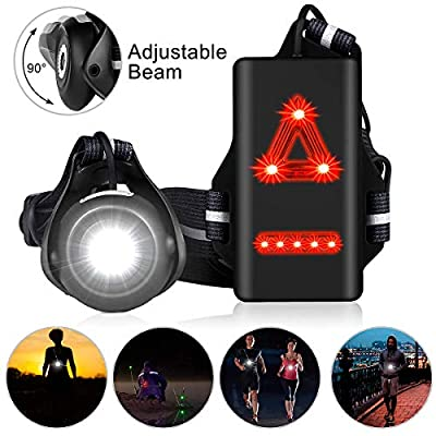 GEMEE Night Running Light LED Outdoor Chest Run Light Waterproof Safety Light Reflective Gear with 500 Lumens 90° Adjustable Front Lamp Safety Back Warning for Running Jogging Walking Biking Camping