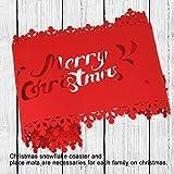 HOWAF Frohe Weihnachten Rentier Schneeflocke Tischläufer Rot Weihnachts Tischband Tischdecke für tischdeko Winter Weihnachtsdeko, Filz, (38 × 180 cm) - 3