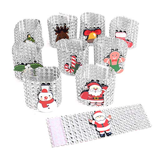 Pveath Napkin Rings,Christmas Rhinestone Santa Claus Napkin Rings Holders 10 Pcs Silver/Red Diamond Napkin Rings Buckles for Christmas Table Decorations, Wedding, Dinner,Party, DIY Decoration Silver