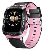 Greetuny - Reloj Inteligente para niños, Pantalla de 1,44 Pulgadas, GPS, Ranura para Tarjeta SIM, antipérdida, Alarma SOS Polvere Nero