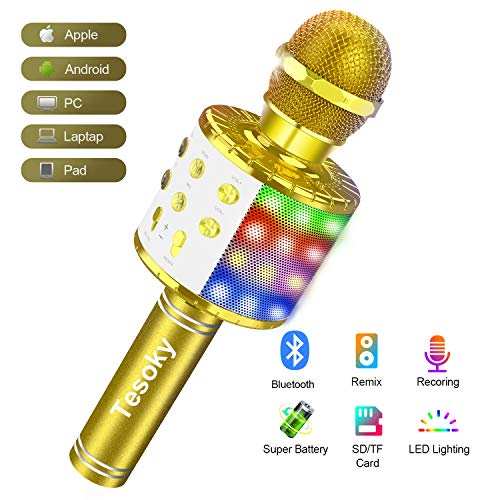 Kids Karaoke Machine Toy Microphone, Tesoky Wireless Bluetooth LED Lights Microphone Portable Handheld Mic Karaoke System Home Party Time Best Christmas Birthday Gifts for Kids Boys Girls Toddler