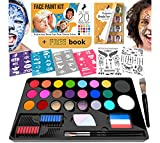 Face Paint Kit for Kids - 20 Water Based, Quick Dry, Non-Toxic Sensitive Skin Paints, 3 Glitters, 2 Temporary...