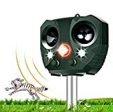 Ultrasonic Animal Repellents Solar Powered Waterproof Outdoor Garden Cat Repeller with Sound, Motion...