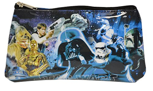 Star Wars Classic Movie Characters Vinyl Zippered Pencil Case (Blue Multi)