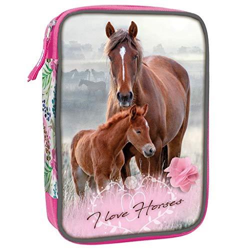 29 tlg. Schüleretui Kinder Federmäppchen Federmappe Federtasche 20 x 13 x 5 I Love Horses Pferd Pferde Flowers Print