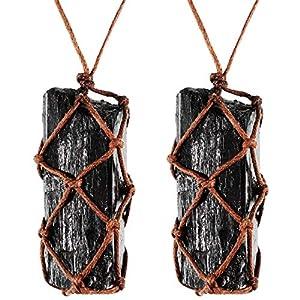 HICARER 2 Stücke Rohen Schwarzen Turmalin Kristall Halskette Hand Geflochtene Chakra Edelstein Anhänger Halskette für Männer Frauen