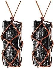 2 Piezas Collar de Cristal de Turmalina Negra Cruda Collar de Piedras Preciosas de Chakra Trenzado a Mano para Hombre y Mujer (Estilo 1)