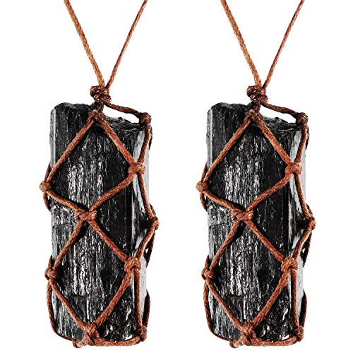 Hicarer 2 Pieces Natural Black Tourmaline Crystal Necklace Hand Braided Chakra Gemstone Pendant Necklace for Men Women (Style 1)