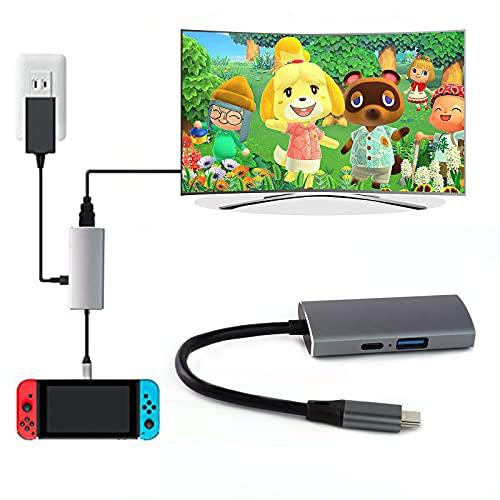 UFOPETIE USB Typ C auf HDMI Digital AV Multiport Hub, USB-C (USB 3.1) Adapter PD Ladegerät für Nintendo Switch, tragbares 4K Dock Samsung Dex Station S10/9/8/Tab S6/S5 Travel TV Dockingstation