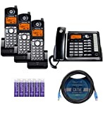 Motorola ML25254 Expandable Corded 2-Line Business Phone with Digital Answering System Bundle with 3-Pack of ML25055 DECT 6.0 Cordless Handsets, Blucoil 10-FT 1 Gbps Cat5e Cable, and 6 AAA Batteries