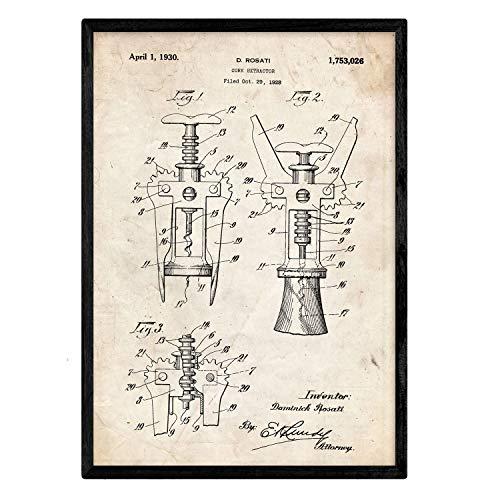 Nacnic Stampa artisticha Vintage Brevetto cavatappi manifesti con invenzioni e Vecchi brevetti. Poster Vintage, Disegni, brevetti, invenzioni Famosi Disegni.