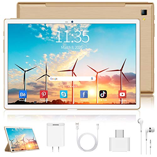 4G LTE Tablet 10 Zoll Android 9 Tablet PC 4GB RAM 64GB ROM / 256 GB Erweiterbar, Quad Core, FHD-IPS-Bildschirm,8000 mAh, Dual SIM, WiFi,Bluetooth, GPS, OTG, Typ C, 5 MP + 8 MP Doppelkamera Tablet Mit