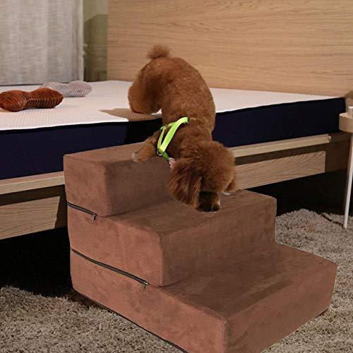 cuckoo-X Easy Step Hundetreppe Premium 4-stufige Treppe für Hunde bis 40 kg Hunderampe,Hundetreppe in 2 Größen,Optional waschbarer Stoffbezug(38x54x40cm)
