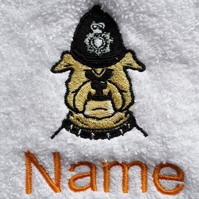 EFY Handtuch, Badetuch oder Badelaken, personalisierbar, mit Polizei-Hunde-Logo und Wunschnamen (Waschlappen 30 x 30 cm)