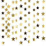 Patelai 130 Feet Golden Glitter Star Paper Garland Hanging Decoration for Wedding Birthday Christmas Festival...