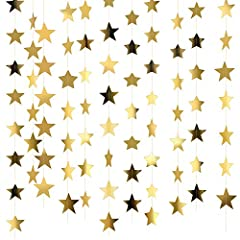 Package includes: 10 x star paper garlands, each garland is 13 feet/ 4 meters long, total length is 130 feet/ 40 meters; Enough quantity can reach your party decoration needs Size: each size of paper star is 2.75 inch/ 7 cm, it's suitable for decorat...