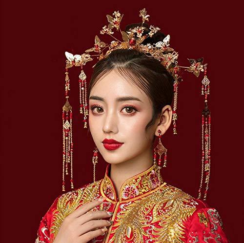 Headdress Vlinder Grote Phoenix Kroon Chinese Kostuum Haaraccessoires Show Wo Kleding Draak en Phoenix Jurk Bruid met Sieraden