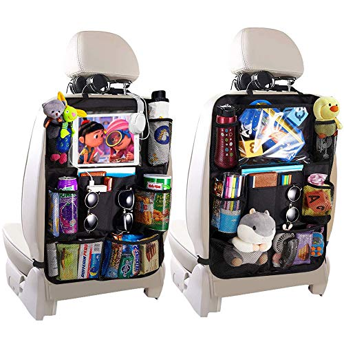 Alupper Car Backseat Organizer 2 Pack Waterproof and Durable Car Seat Storage Bag with Clear Screen Tablet Holder and 10 Storage Pockets for Kids Toddler