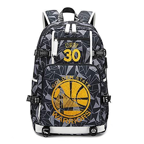 NBA Warriors Mochila Escolar Mochila Hombres y Mujeres Estudiantes Bolsa de Gran Capacidad B6