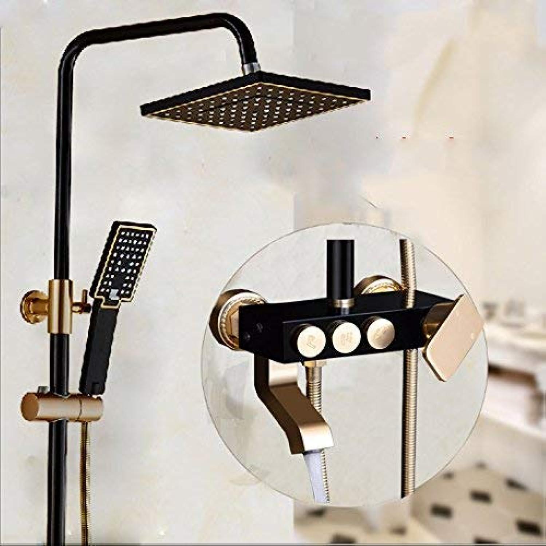 Oudan Black gold shower shower set three