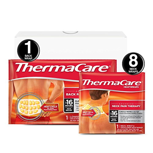 ThermaCare Advanced Neck and Back Pain (L-XL Size) Combo Pack (8 Neck and Back Wrap) Set, Back & Neck Pain, 9 Piece Set, 1 Count