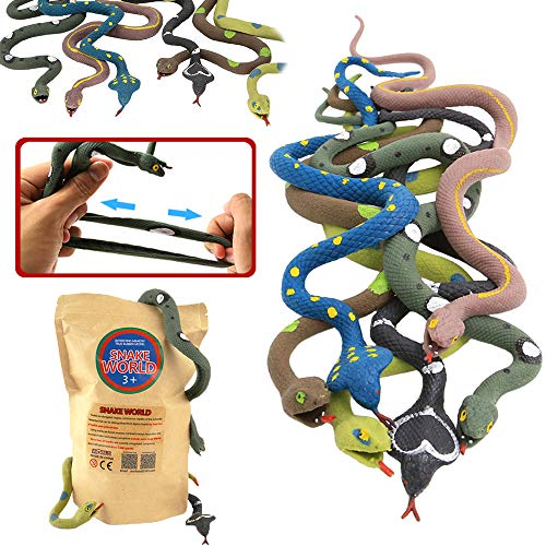 Rubber Snake,14 Inch Snake Toy Set(6 Pack),Food Grade Material TPR Super Stretchy,With Learning Card,Zoo World Realistic Fake Snake Figure Keep Bird Away Bathtub Garden Rainforest Squishy Reptile Toy
