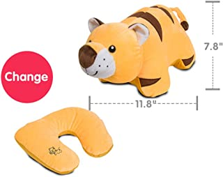 Kenmont Soft Travel Pillow, Neck Pillow for Restful Sleep on an Airplane - Chin Supporting Patented U-Shape Pillow & Animal Plush Doll for Kids Room Decor Tiger