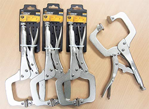 Lot of (4) 11' Locking C Clamp Pliers Swivel Jaw Pad Vise Grip Welding Tool