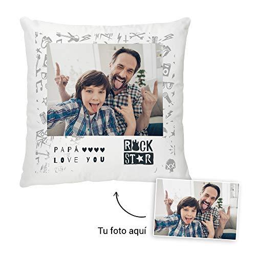 Fotoprix Cojín Personalizado con Foto para Papá | Regalo Original día del Padre | Varios diseños y tamaños (Diseño: Padre 5, 35 x 35 cms)