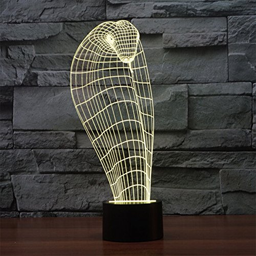 3D Optical Illusion Desk Lamp 7 Colors Change Touch Button USB Nightlight Produces Unique Visualization Lighting Effects Art Sculpture Light Cobra
