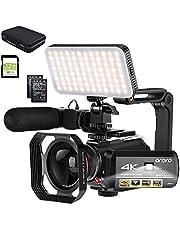 ORDRO kamera wideo 4K 1080P 60FPS IR noktowizyjny nagrywarka wideo 3,1'' IPS ekran dotykowy WIFI kamera z mikrofonem, oświetlenie wideo LED, obiektyw szerokokątny, torba do przenoszenia i karta SD 32 GB