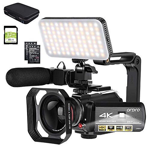 ORDRO Videocámara 4k Cámara de Video de Visión Nocturna 1080P 60FPS Grabador de Video WiFi con Micrófono, Luz de Video LED, Lente Gran Angular, Estuche de Transporte y Tarjeta SD de 32GB