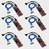 PCIE Riser,YIKESHU GPU Riser Adapter for Bitcoin Litecoin,6-PCS PCI-E 16x 8X 4X 1x Powered Riser Adapter Card 60cm USB 3.0 Extension Cable&6-Pin PCI-E to SATA Power Cable-Ethereum Mining ETH