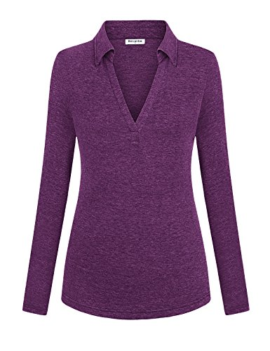 Becanbe Fall Clothing for Women, Long Sleeve Sport Plus Size Tunic Blouse Tops Polo T Shirts(Voilet,Medium)