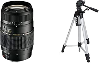 Tamron A17E - Objetivo para Canon (70-300 mm f/4-5.6 Macro AF 62 mm) Color Negro + AmazonBasics - Trípode Ligero Completo (Bolsa Cabezal panorámico de 3 Posiciones Zapata rápida) Color Negro