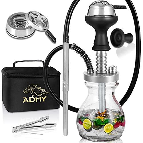 ADMY Mini Shisha Set, klein Hookah Komplett Alu, 33cm Shisha Paket To Go|Wasserpfeife Silikonschlauch Mundstück |Glas Bowl |Silikonkopf Smokebox |Zange |Tauchrohr Diffusor |Travel Bag (Silber)