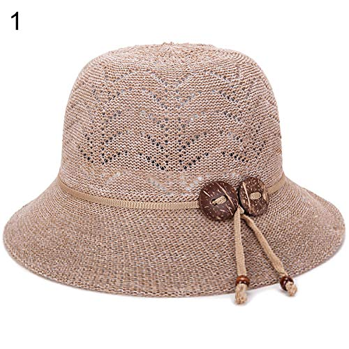 Lai-LYQ Fashion Vrouwen Houten Knopen Ademende Bowler Emmer Hoed Outdoor Basin Cap - Koffie
