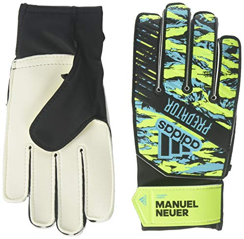 adidas Youth Predator Training Soccer Goalkeeper Gloves, Solar Yellow/Bright Cyan/Black, 7
